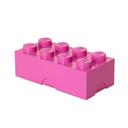 Room Copenhagen 40231739 Lego Brotdose mit 8 Noppen, Kleine Aufbewahrungsbox, Stiftebox, rosa, Bright Purple (Medium Pink)