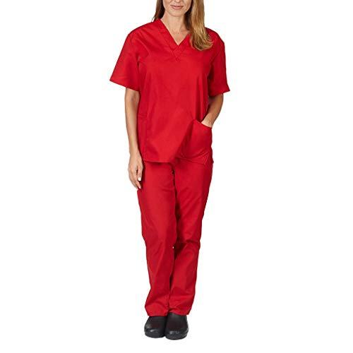 iLOOSKR 2pcs Men Women Short Sleeve V-Neck Pockets Tops with Pants Nursing Working Uniform Set Suit Red