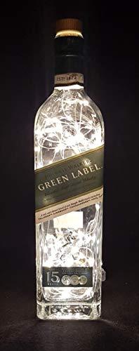 Johnnie Walker Green Label – Lámpara de botella con 80 LED blanco cálido Upcycling idea regalo
