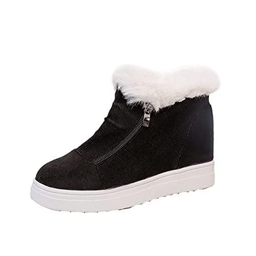 YWLINK Botas De Nieve De Invierno Con Forro De Piel CáLida Para Mujer,Antideslizantes Al Tobillo,Zapatos Planos De Gamuza Con Cremallera Talla Grande Zapatos De Leopardo Casuales (Negro, 39.5)