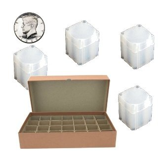 Half Dollar Coin Tube Box with 28 Square Numis Brand Coin Tubes
