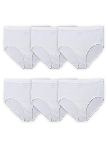 Fruit of the Loom Women's Tag Free Cotton Panties (Regular & Plus, Plus Size Brief-6 Pack-White, 12
