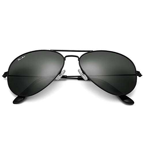 Polarized Aviator Sunglasses for Men Women, Lightweight Metal Frame 100% UV Protection (Black Frame/Black Lens)