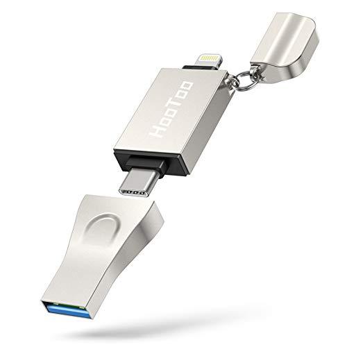 HooToo 3-in-1 USB-Stick für iPhone, iPad, Typ-C-Handy, MacBook und Windows-PC