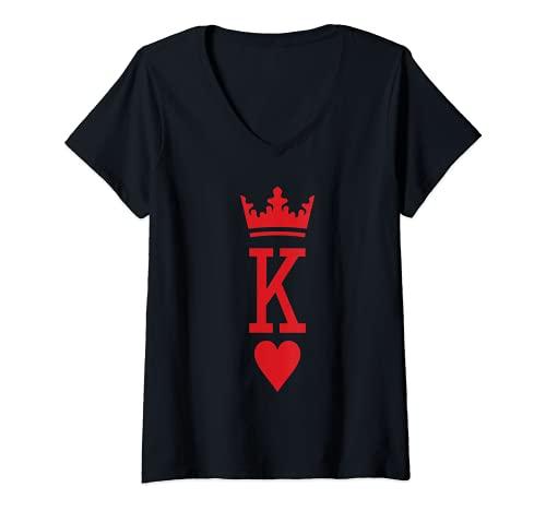 Mujer El rey de corazones novedad jugador de póquer regalo Camiseta Cuello V