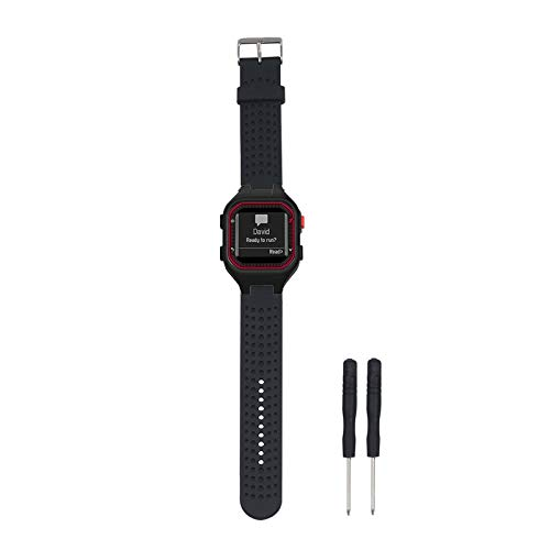 Replacement Band Compatible with Garmin Forerunner 25 GPS Running Watch Wristband Fitness Tracker for Smarwatch(Mans Strap) (Black)