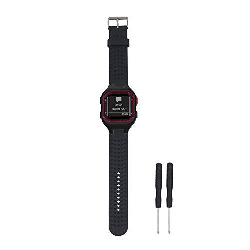 교체 밴드 호환 가민 포어 러너 25GPS 실행 시계 팔찌 피트니스 추적기 SMARWATCH(망 스트랩)(블랙)