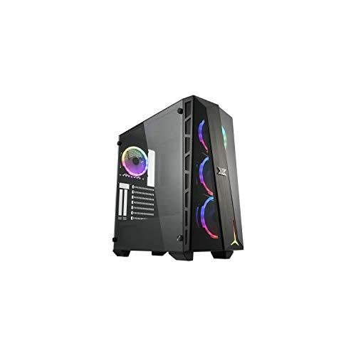 Xigmatek CYCLOPS Black ARGB - ATX – Caja PC Gaming – Lateral Vidrio Templado, Frontal Mesh y 4 Ventiladores RGB de 120 mm con control remoto de RGB