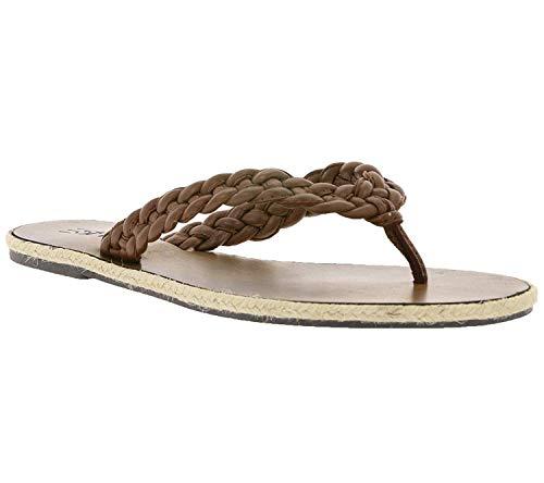 ESPRIT Schuhe Sandalen Bequeme Damen Echtleder-Zehentrenner Tong Schlappen Braun, Größenauswahl:38