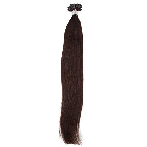 Beauty7 - Räumungsausverkauf - 50 STK U-tips Echthaarsträhnen 100% Remy Echthaar Haarverlängerung 55cm 1g Bonding Echthaar Extensions Strähnen 22 Zoll Dunkelbraun #2