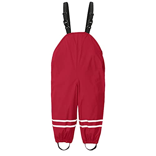 Kids Waterproof Rain Pants Dirty Proof Suspender Trousers Jumpsuit Clothes for Boys and Girls Muddy Play Overalls