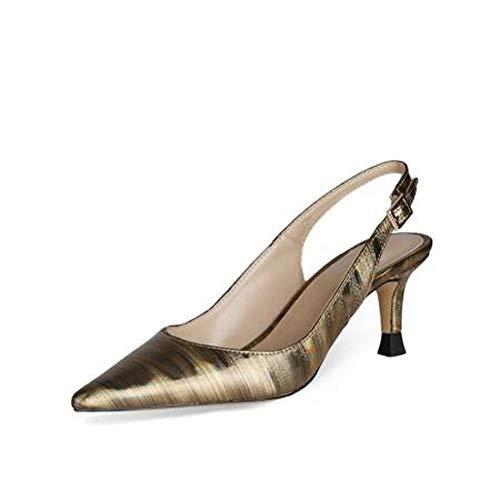 SHXITAYNB Damen High Heels, Neue Spitze Sandalen Für Frühjahr Und Sommer PU, All-Match Low Heels (Silber, Gold),Gold,39