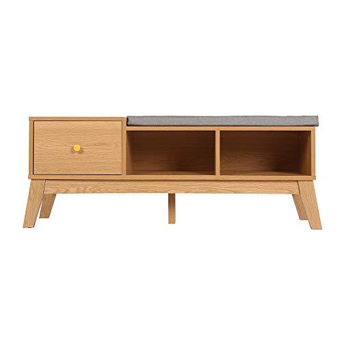 FancyWood Banco zapatero, zapatero extraíble con cojín, taburete de madera y zapatero, se utiliza en el salón del pasillo.