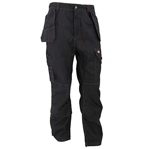 Dickies Redhawk - Pantalones de Trabajo Modelo Pro Work Hombre Caballero (Longitud Pierna 76cm-Short) (Cintura 117cm) (Negro)