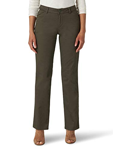 Lee Women's Misses Wrinkle Free Relaxed Fit Straight Leg Pant, Frontier Olive, 16