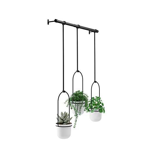 Umbra Triflora Hanging Planter for Window, Indoor Herb Garden, White/Black Vaso, Bianco, Taglia Unica