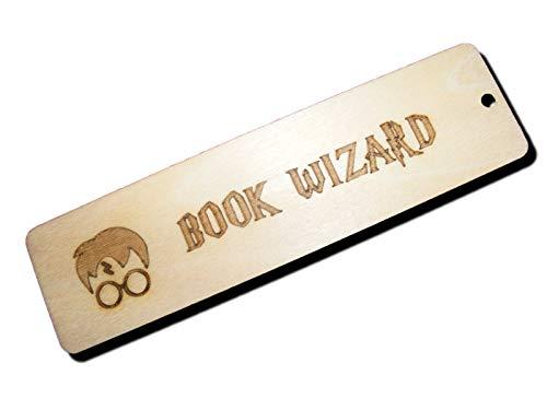 FastCraft - Marcapáginas de Madera grabada con Texto en inglés Harry Potter Book Wizard Wooden