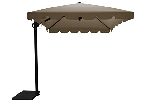 Maffei Art 87r Allegro, Parasol deporté rectangulaire cm 300x200, Tissu PolyMa, Made in Italy. Couleur Taupe
