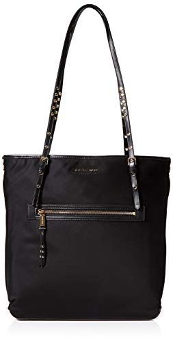 """Nylon; trim: leather; lining: polyester Laptop compatible (std. size 13""""-15"""") Gold-tone exterior hardware & 1 zip pocket 1 interior zip pocket & 7 slip pockets 13-1/4""""L handles 15""""W x 14""""H x 5""""D"""