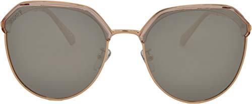 SQUAD Polígono Gafas de Sol polarizadas, Para mujeres, Fashion Retro, con Protección UV, Montura Transparente lentes de Espejo Plano Reflector