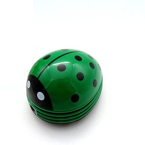 Mini aspiradora, aspiradora de escritorio de esquina portátil en forma de mariquita Mini aspiradora linda barredora para limpieza de mesa de oficina en casa (verde)