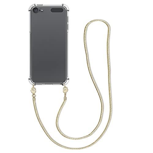 kwmobile Hülle kompatibel mit Apple iPod Touch 6G / 7G (6. & 7.Generation) - mit Kordel zum Umhängen - Silikon Schutzhülle Transparent Gold