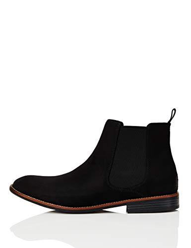 find. Chelsea Boots Herren rahmengenäht, aus rauem Kunstleder, mit Schlaufe und Blockabsatz, Schwarz (Black), 44.5 EU