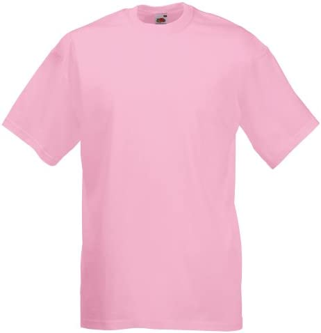 Fruit of the Loom Camiseta Básica Manga Corta Hombre Valueweight Rosa