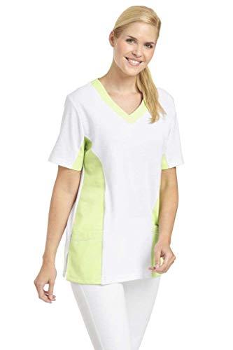 Leiber Women's Scrubs 2-Pocket Top, bicolour design, Colour: Green, Size: XL