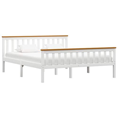 vidaXL Madera Maciza de Pino Estructura de Cama Matrimonio Doble Blanca 160x200 cm Somier Muebles de Dormitorio Habitación