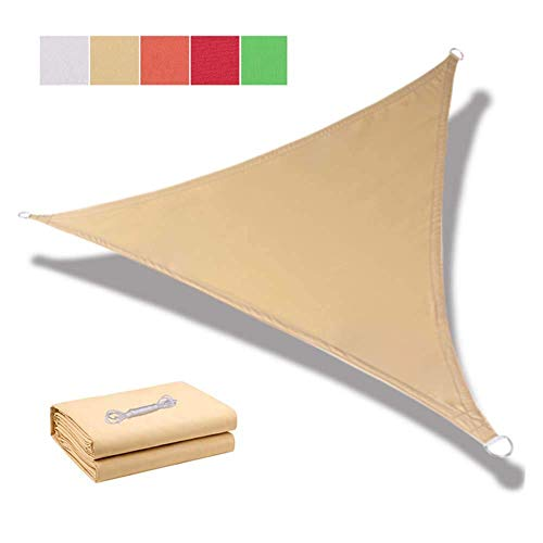 Garden Triangle 3X3X3M Sun Shade Sail, UV Block Patio Canopy 95% UV-Proof, Water Dustproof Windproof for Outdoor Patios Pergola decking Swimming Pool Canvas