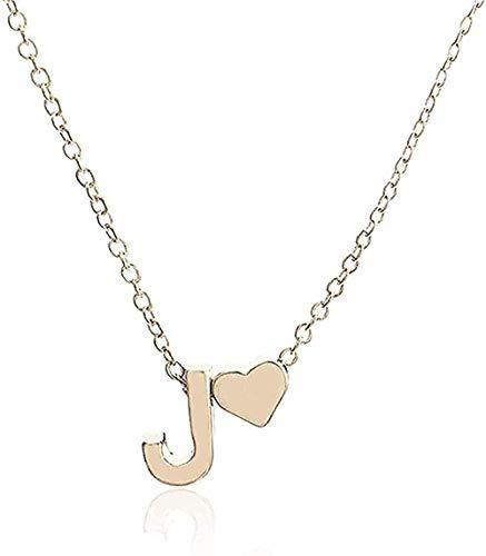 NC110 Collar Collar de Cadena Elegante para Mujer Colgante de Letra y corazón Collar Simple Collar con Colgante de joyería Regalo para niños YUAHJIGE