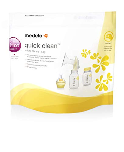 Medela Bolsas de esterilización reutilizables para microondas Quick Clean. Eliminan el 99,9% de las bacterias y gérmenes comunes en 3 minutos