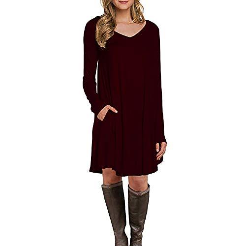 Hirolan Damen Enges Kleid Sommerkleid Rundhals Dress Bodycon Minikleid Frau Lange Ärmel Tasche Beiläufig Lose Longshirt T-Shirtkleid Casual Party Tunika Kleider (Rot, M)