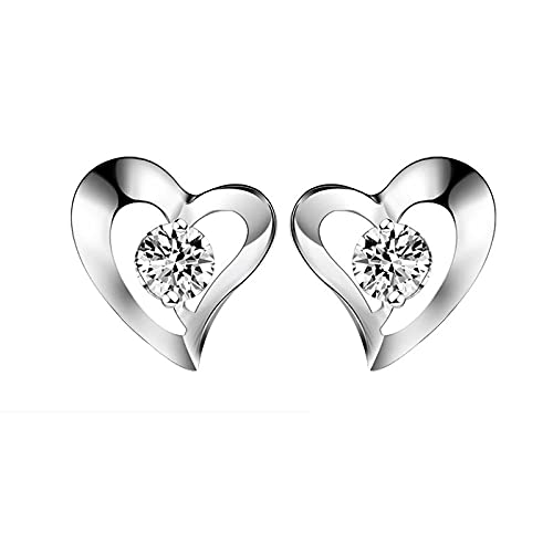 Tipo de pendientes Botón de plata para mujer Joyería de boda Pendiente de corazón Circón Accesorios brillantes para el Día de San Valentín 925