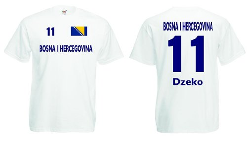 Fruit of the Loom Bosna Herzegovina Herren T-Shirt Dzeko Bosnien Fan Trikot|w-XXXL