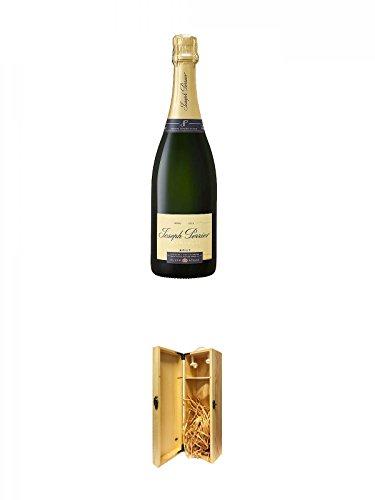 JOSEPH PERRIER Brut Champagner 0,75 Liter + 1a Whisky Holzbox für 1 Flasche mit Hakenverschluss