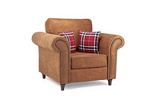 Honeypot - Sofa - Oakland - Faux Leather - Armchair - Tan Suede - Cushions Included