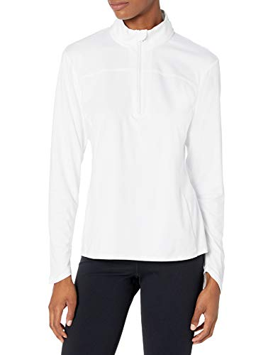 PGA TOUR Women's Standard 1/4 Zip Long Sleeve Fleece, Bright White, Large