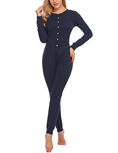UNibelle Damen Hausanzug Onesie Thermowäsche mit Knopfleiste Nachtwäsche Schlafanzug Navy Blau - 2