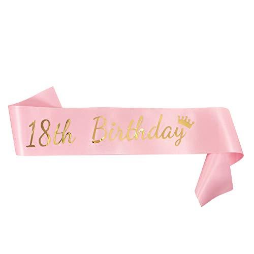 Oblique Unique® 18 th Birthday Schärpe - Geburtstag Jubiläum Feier Party Accessoire Rosa mit Gold Aufdruck