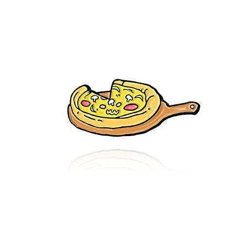 Bodhi2000 Broche de moda accesorio broche de las letras grabadas en rodajas de esmalte de pizza, joyería de la solapa de las mujeres, niñas, decoración del partido regalos amarillo 1