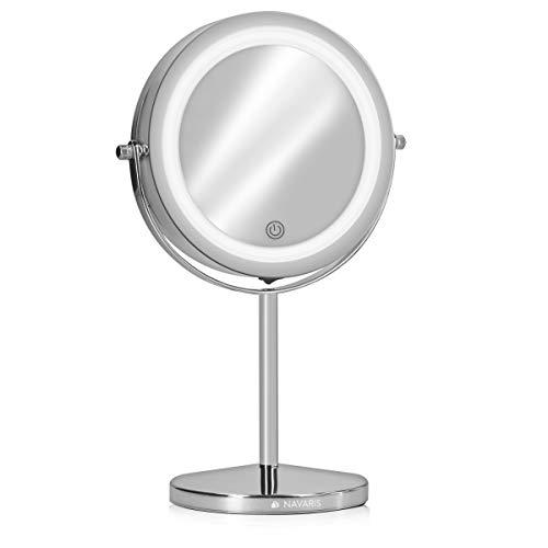 Navaris Espejo de Maquillaje con luz LED - Espejo Profesional Doble Cara con Aumento 5X - Redondo Iluminado y con Base para Mesa o tocador - Plateado