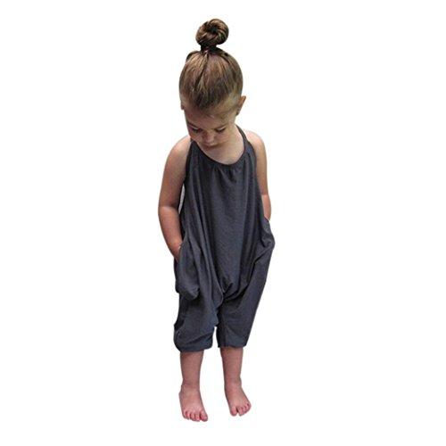 Bekleidung Longra Kleinkind Kind Baby Mädchen Riemen Overalls Stück Hosen Rompers Jumpsuits Mädchen Sommerkleidung(1-6Jahre) (90CM 1-2Jahre, Gray)