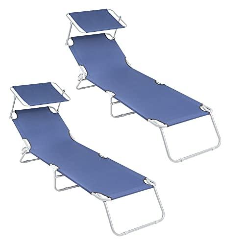 ECD Germany 2er Set Alu Sonnenliege Gartenliege mit Dach, Blau, 200 cm, klappbare Strandliege, Liegestuhl mit Verstellbarer Rückenlehne, Sonnendach verstellbar, Relaxliege für Garten Terrasse Balkon