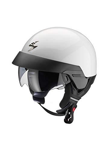 Cruizer - Helm Scorpion EXO-100 für Roller, Motorrad, Jet, weiß mit abnehmbarem Kragen und äußerem Visier (XXL)