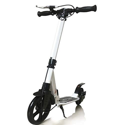 GTYMFH Scooter de pie Plegable for Adultos Big Wheel Scooter - Ligera Cercanías Kick Scooter, Altura-Adjustable80CM el 102CM no eléctricos, Scooter de Ciudad (Color : White)