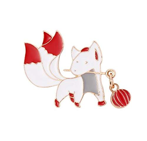 Bite The Lantern Fox Pin Custom Japanese-Style Anime Animal Brooch Handbag Lapel Pin Badge Cute Cartoon Jewelry