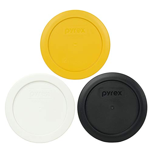 Pyrex 7200-PC 2 cup (1) Butter Yellow (1) White and (1) Black Round Plastic Food Storage lids