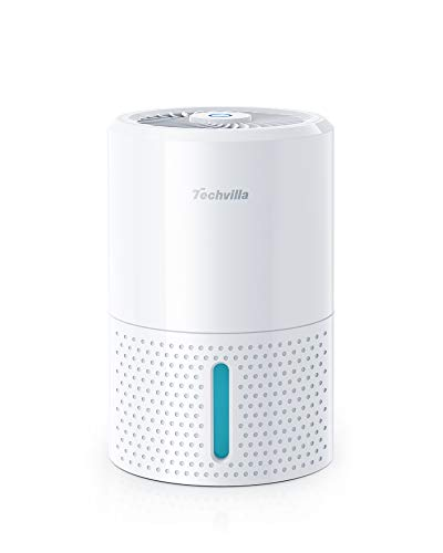 TECHVILLA Mini Dehumidifier 35oz(1000ml) with Auto-Off Function and LED Indicator, Small Dehumidifier for Home, Bedroom, Bathroom, Basement, RV, Closet, Single Touch Operation, Low Noise Emission